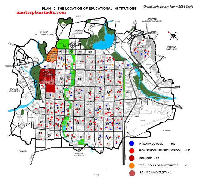 Location of Educational Institutions in Chandigarh