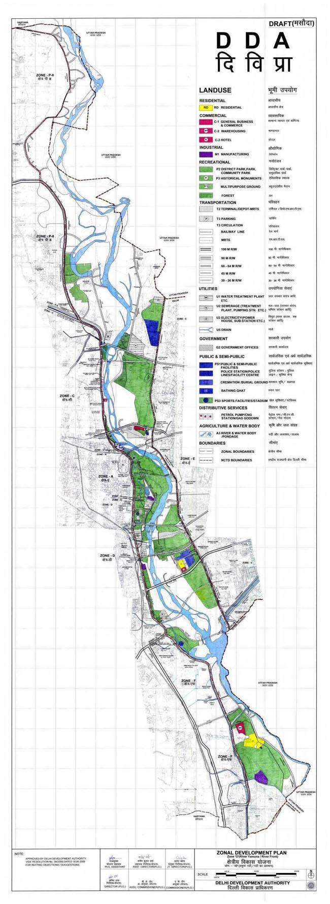 Zonal Development Plan Map Zone O Delhi