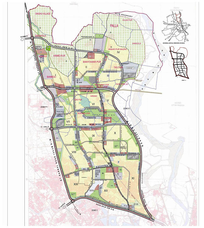 Zonal Development Plan Map Zone P2 Narela Subcity Delhi