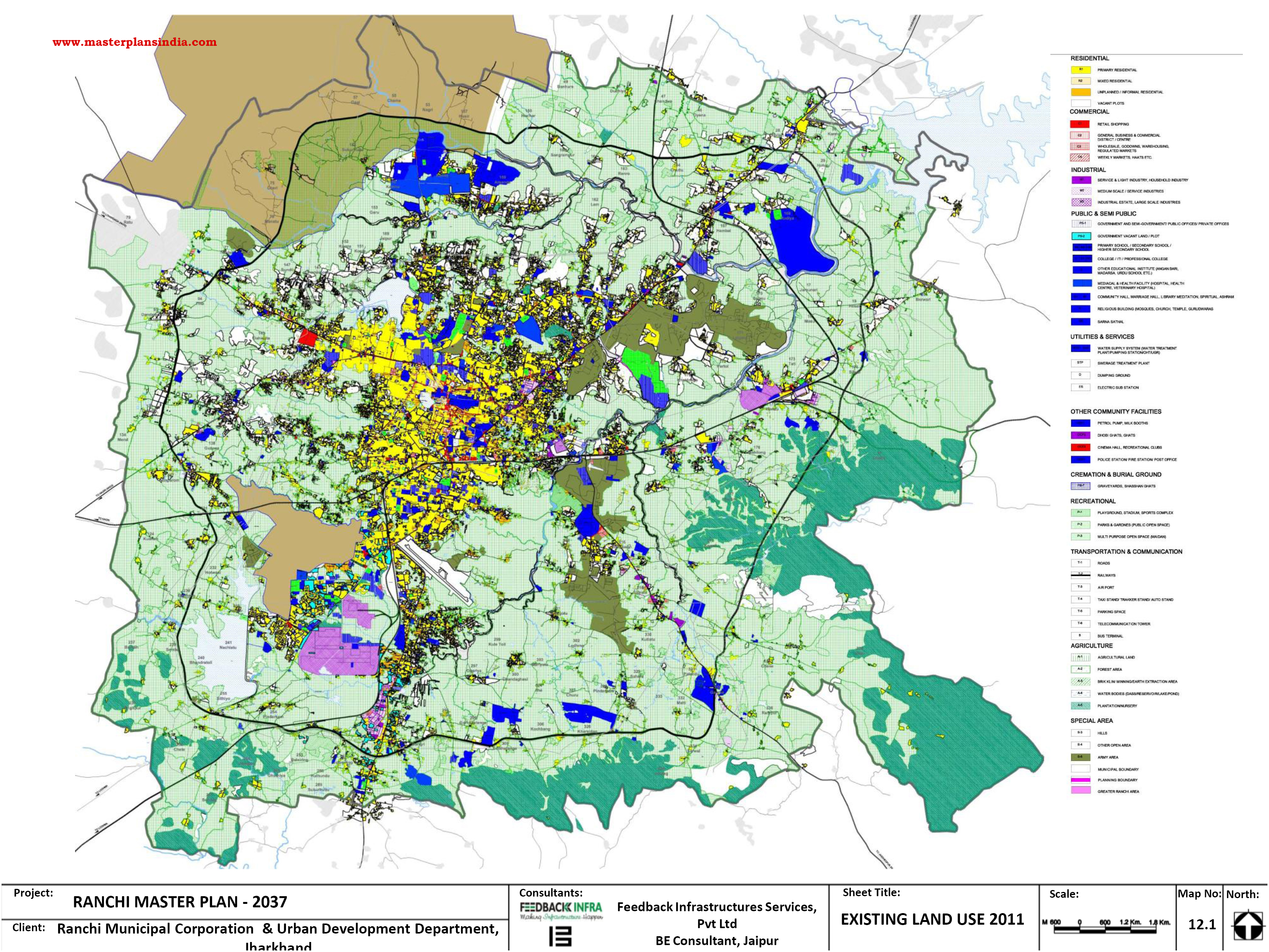 Location Of Ranchi In India Map.Ranchi Existing Land Use Map Pdf Download Master Plans India