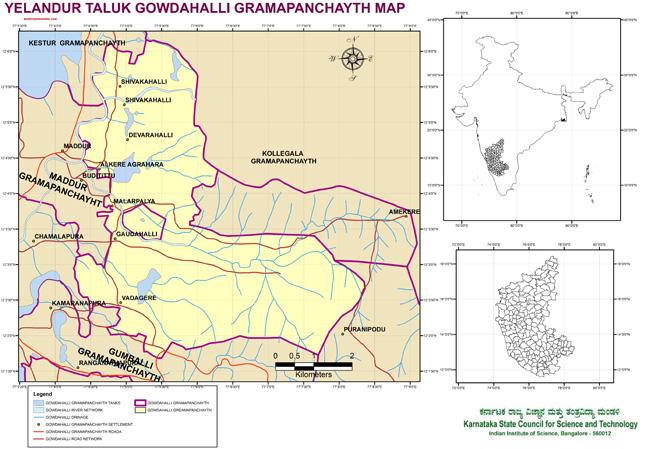 Yelandur Taluk Gowdahalli Grampanchayath Map