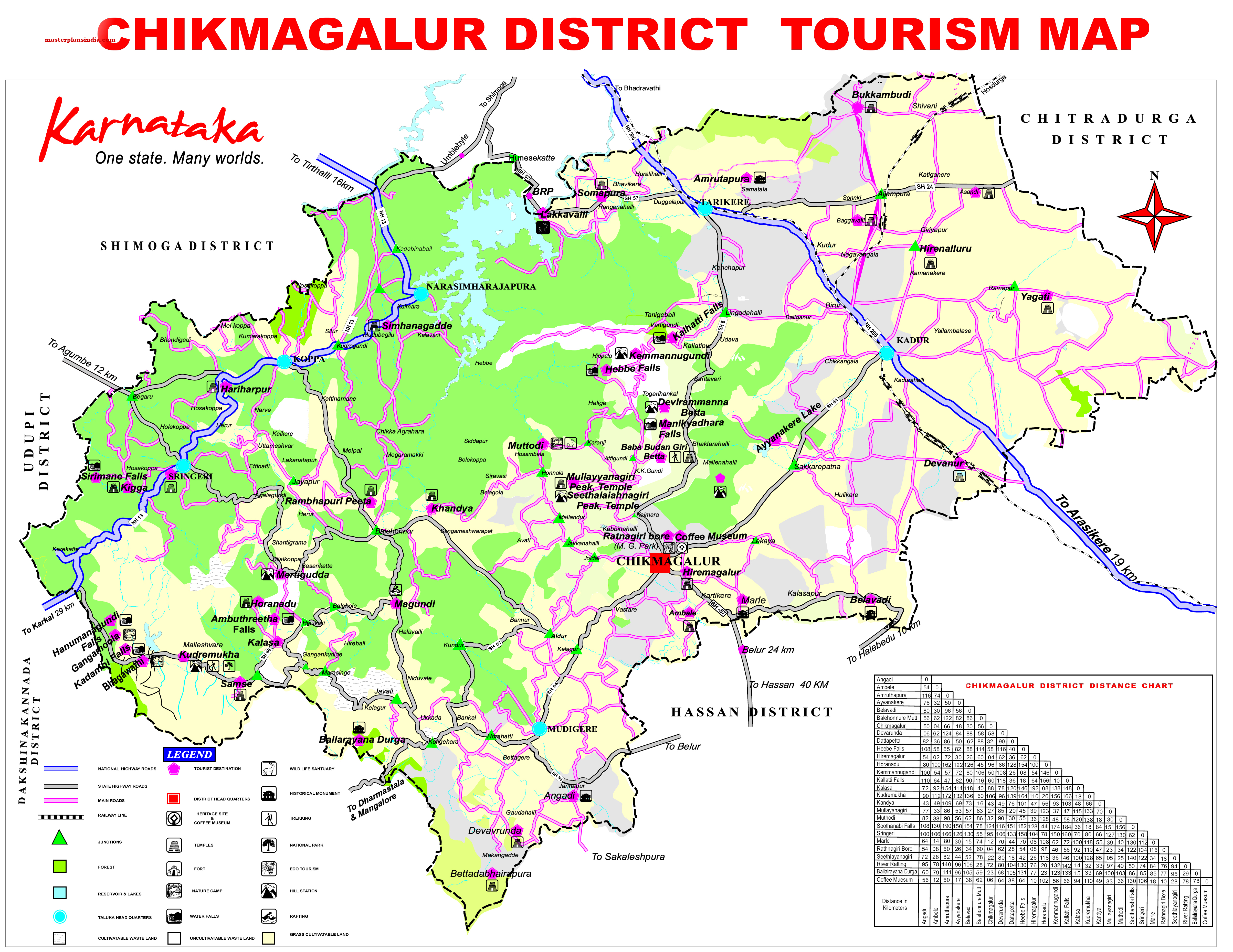 Chikmagalur District Tourism Map PDF Download Master Plans India - Chikmagalur map