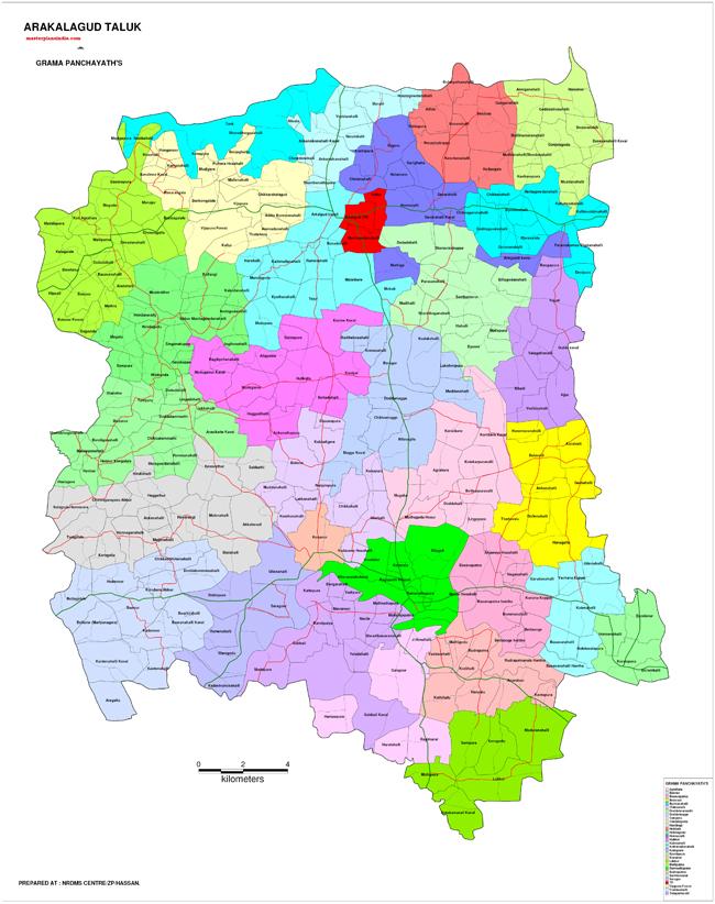 Arakalagud Taluk Gramapanchayat Map