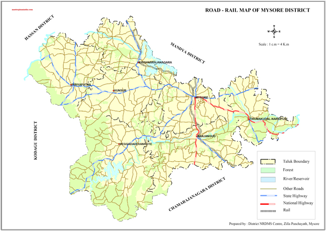 Mysore District Road and Rail Map