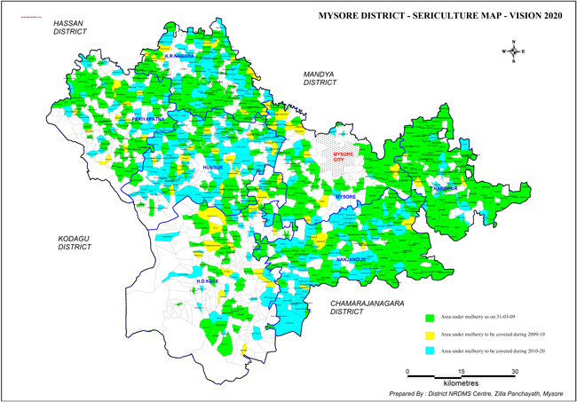 Mysore District Sericulture-2020 Map