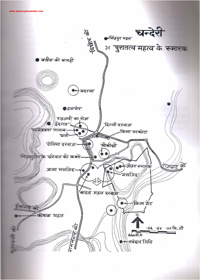 Chanderi Archeological Monuments Map