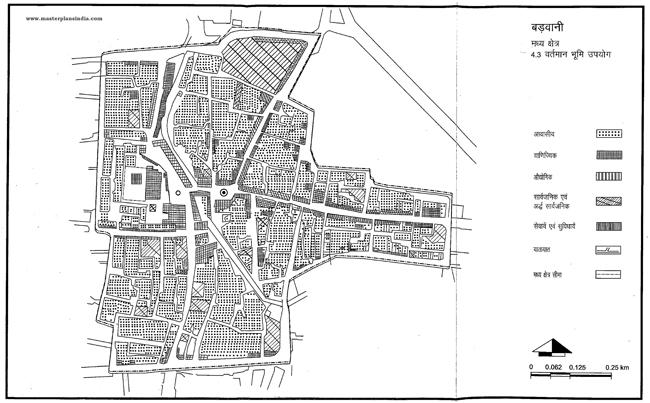 Badwani Middle Area Existing Land Use Map