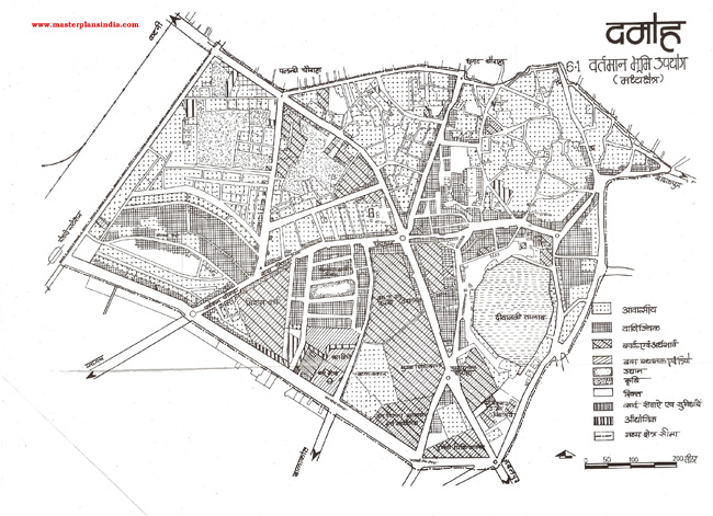 Damoh Middle Area Existing Land Use Map